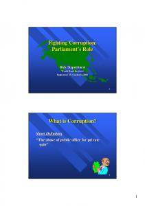 Fighting Corruption: Parliament s s Role