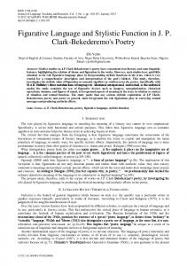 Figurative Language and Stylistic Function in J. P. Clark-Bekederemo's Poetry