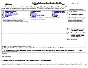 Figure 1 Assistive Technology Consideration Checklist Page of Student Name: School: Date: