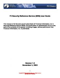 FII Security Reference Service (SRS) User Guide