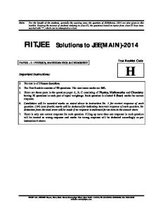 FIITJEE Solutions to JEE(MAIN)-2014