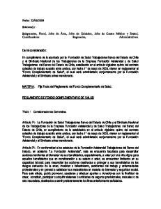 Fija Texto del Reglamento del Fondo Complementario de Salud