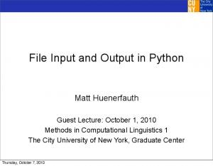 File Input and Output in Python
