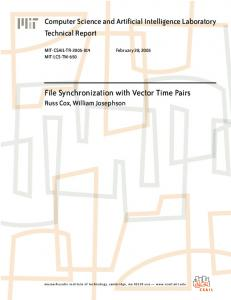 File Synchronization with Vector Time Pairs Russ Cox, William Josephson