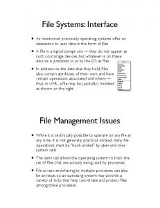 File Systems: Interface. File Management Issues
