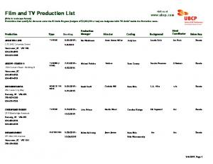 Film and TV Production List