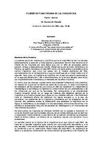 FILOSOFIA Y CAUTIVIDAD DE LA LINGUISTICA