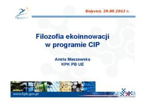 Filozofia ekoinnowacji w programie CIP