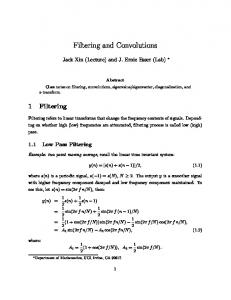 Filtering and Convolutions