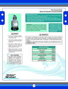 Filtro de Arena Pacific Manual de Propietario y Guía de Instalación