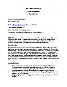 FIN 120 Personal Finance. College of Charleston. Course Syllabus