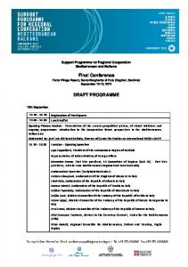 Final Conference DRAFT PROGRAMME