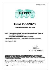 FINAL DOCUMENT. Global Harmonization Task Force