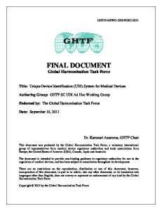 FINAL DOCUMENT Global Harmonization Task Force