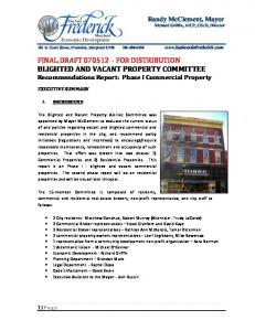 FINAL DRAFT FOR DISTRIBUTION BLIGHTED AND VACANT PROPERTY COMMITTEE Recommendations Report: Phase I Commercial Property
