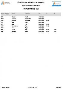 Final Entries - Athletes List by event. FINAL ENTRIES - Men