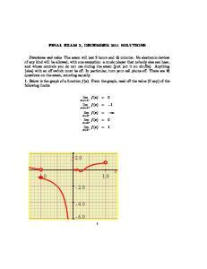 FINAL EXAM 2, DECEMBER 2011 SOLUTIONS