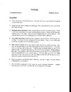 Final Exam. Criminal Procedure. Professor Scherr. Instructions