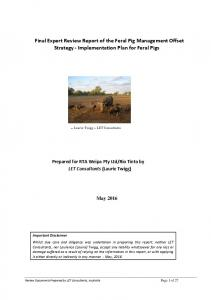 Final Expert Review Report of the Feral Pig Management Offset Strategy - Implementation Plan for Feral Pigs
