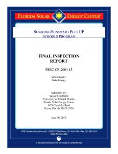 FINAL INSPECTION REPORT