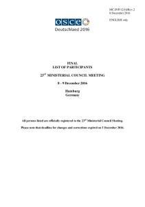 FINAL LIST OF PARTICIPANTS. 8-9 December Hamburg Germany