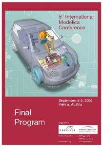 Final. Program. 5 th International Modelica Conference. 5 th International Modelica Conference. September 4-5, 2006 Vienna, Austria