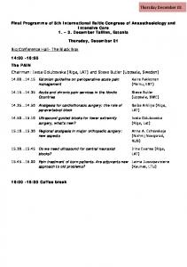 Final Programme of 8th International Baltic Congress of Anaesthesiology and Intensive Care December Tallinn, Estonia. Thursday, December 01