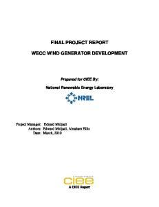 FINAL PROJECT REPORT WECC WIND GENERATOR DEVELOPMENT