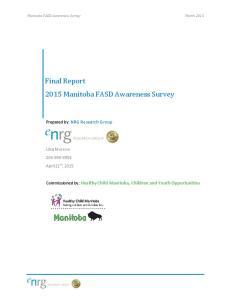 Final Report 2015 Manitoba FASD Awareness Survey