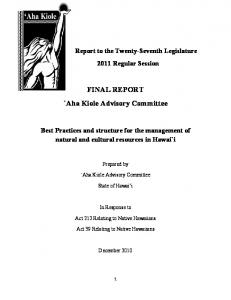 FINAL REPORT `Aha Kiole Advisory Committee