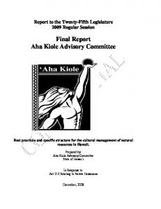 Final Report Aha Kiole Advisory Committee
