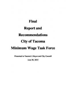 Final Report and Recommendations City of Tacoma Minimum Wage Task Force