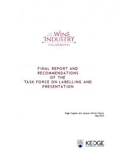 FINAL REPORT AND RECOMMENDATIONS OF THE TASK FORCE ON LABELLING AND PRESENTATION