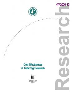 Final Report Cost Effectiveness of Traffic Sign Materials
