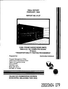 FINAL REPORT FEBRUARY 2002 REPORT NO