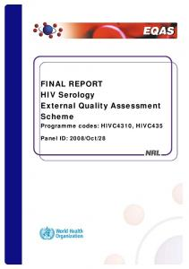 FINAL REPORT HIV Serology External Quality Assessment Scheme