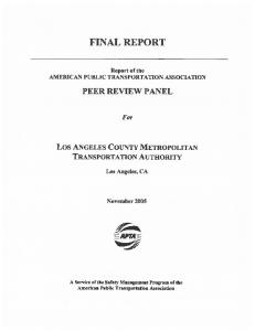 FINAL REPORT PEER REVIEW PANEL. For EEAPT4E. Los ANGELES COUNTY METROPOLITAN TRANSPORTATION AUTHORITY
