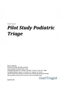 Final report Pilot Study Podiatric Triage