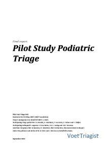 Final report Pilot Study Podiatric Triage