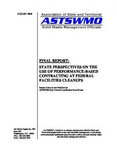 FINAL REPORT: STATE PERSPECTIVES ON THE USE OF PERFORMANCE-BASED CONTRACTING AT FEDERAL FACILITIES CLEANUPS