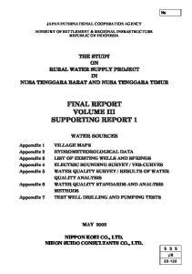 FINAL REPORT VOLUME III SUPPORTING REPORT 1