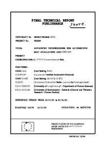 FINAL TECHNICAL REPORT PUBLISHABLE SWvw tl *