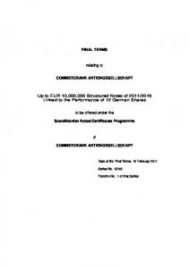 FINAL TERMS. relating to COMMERZBANK AKTIENGESELLSCHAFT