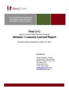 Final (v1): Release 1 Lessons Learned Report
