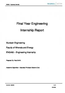 Final Year Engineering. Internship Report