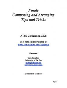 Finale Composing and Arranging Tips and Tricks