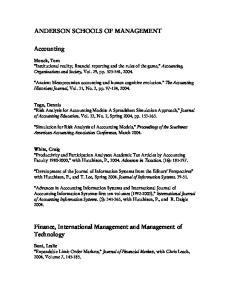 Finance, International Management and Management of Technology