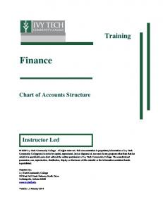 Finance. Training. Chart of Accounts Structure. Instructor Led