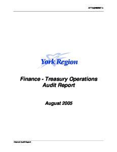 Finance - Treasury Operations Audit Report