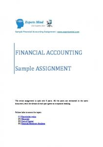 FINANCIAL ACCOUNTING. Sample ASSIGNMENT